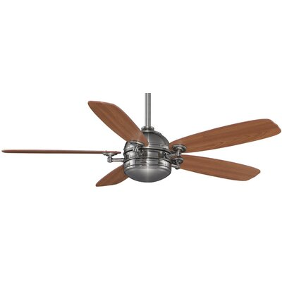 52 Akira 5-Blade Ceiling Fan with Remote Finish: Pewter With Cherry / Walut Blades