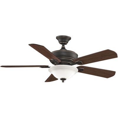 52 Camhaven 5-Blade Ceiling Fan Fan Finish with Blade Finish: Bronze Accent With Cherry/Walnut Blades