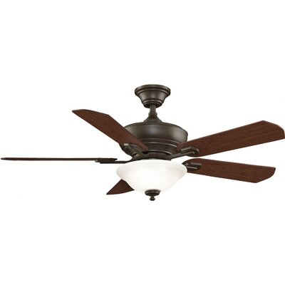 52 Camhaven 5-Blade Ceiling Fan Fan Finish with Blade Finish: Oil-Rubbed Bronze With Cherry/Walnut Blades