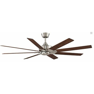 63 Levon 8 Blade LED Ceiling Fan Fan Finish with Blade Finish: Brushed Nickel With Cherry / Walnut Blades