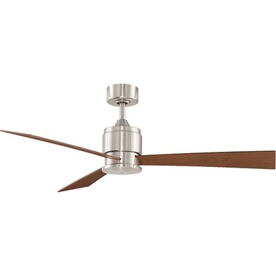54 Zonix 3-Blade Ceiling Fan Finish: Brushed Nickel  with Cherry / Walnut Blades