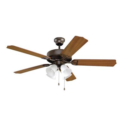52 Builder Series 5-Blade Ceiling Fan Finish: Oil Rubbed Bronze with Cherry / Mahogany Blades, Glass Type: White Frosted Glass