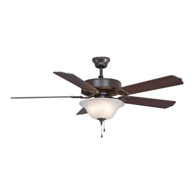 52 Builder Series 5-Blade Ceiling Fan Finish: Oil Rubbed Bronze, Glass Type: White Frosted Glass
