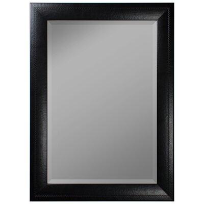 "Saddle Stitched Wall Mirror Finish: Black, Size: 46""H x 36""W x 1""D 683003"
