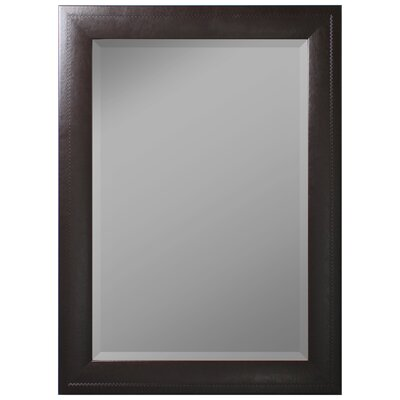 """Saddle Stitched Wall Mirror Size: 46""""H x 36""""W x 1""""D, Finish: Brown 683103"""