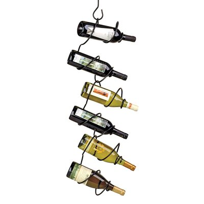 Climbing Tendril 6 Bottle Hanging Wine Bottle Rack Finish: Black