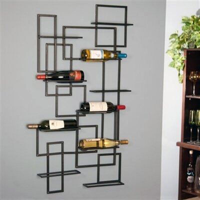 Darren Mid Century 10 Bottle Wall Mounted Wine Rack