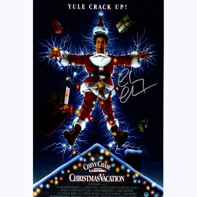 Chevy Chase Signed National Lampoons Christmas Vacation Movie Vintage Advertisement CHASPOS011001