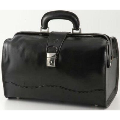 "Verona Giotto 14.75"" Leather Carry-on Duffel Color: Black"