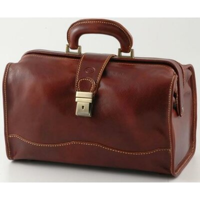 "Verona Giotto 14.75"" Leather Carry-on Duffel Color: Brown"