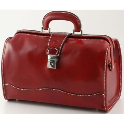 "Verona Giotto 14.75"" Leather Carry-on Duffel Color: Red"