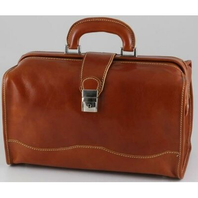 "Verona Giotto 14.75"" Leather Carry-on Duffel Color: Honey"