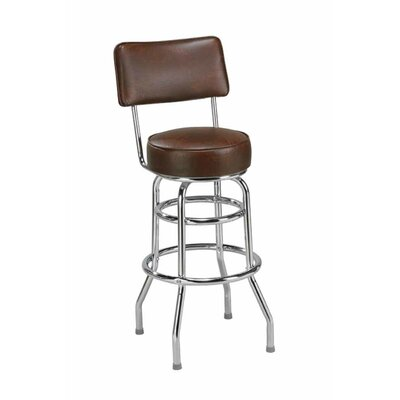 Swivel Bar Stool Seat Height: 26, Upholstery: Dark Walnut Wood