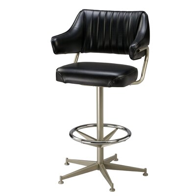 Swivel Bar Stool Finish: Black, Upholstery: Dark Walnut Wood, Seat Height: 30