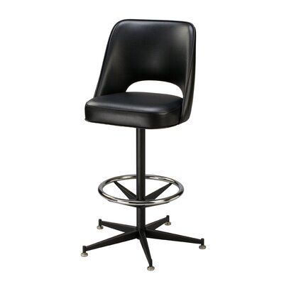Swivel Bar Stool Seat Height: 26, Finish: Black, Upholstery: Mahogany Wood