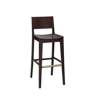 Otwell Beechwood Solid Back Bar Stool Seat Height: 26