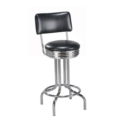 Swivel Bar Stool Upholstery: Natural Wood, Seat Height: 26