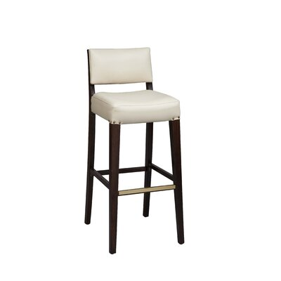Amoroso Beechwood Solid Back Fully Upholstered Seat Bar Stool Seat Height: 26