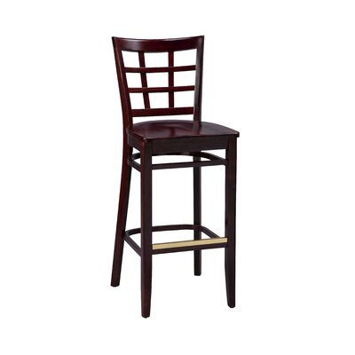 Bar Stool Finish: Mahogany, Seat Height: 26, Footrest and Nail Trim: Chrome