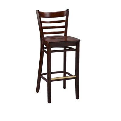 Amoroso Beechwood Ladder Back Wood Seat Bar Stool Seat Height: 26