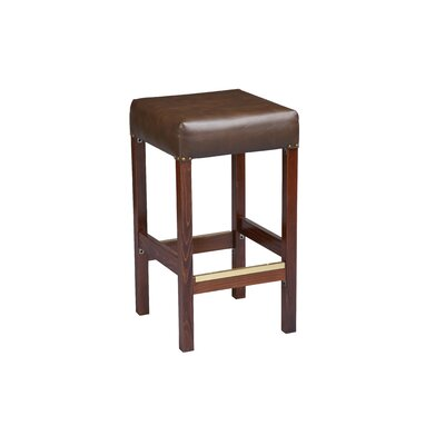 Bar Stool Finish: Dark Walnut, Seat Height: 26 inch, Footrest and Nail Trim: Brass