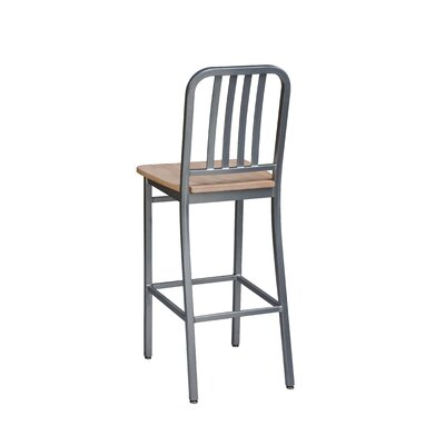Bar Stool Seat Height: 30 inch, Finish: Silver, Upholstery: Cherry Wood