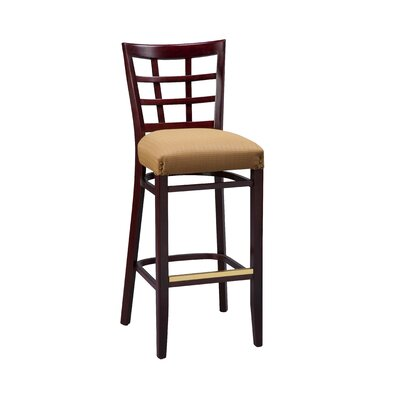 Bar Stool Seat Height: 26, Finish: Mahogany, Footrest and Nail Trim: Brass