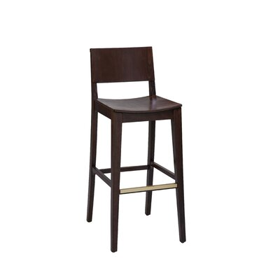 Bar Stool Finish: Natural, Seat Height: 31 inch, Footrest and Nail Trim: Brass