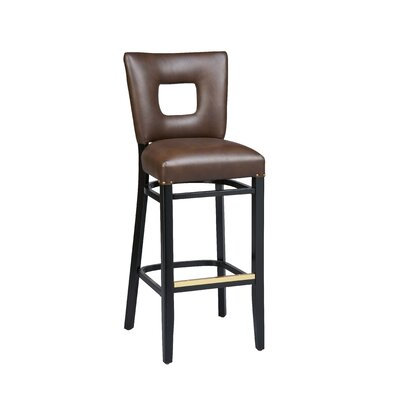 Bar Stool Finish: Dark Walnut, Seat Height: 24 inch, Footrest and Nail Trim: Chrome