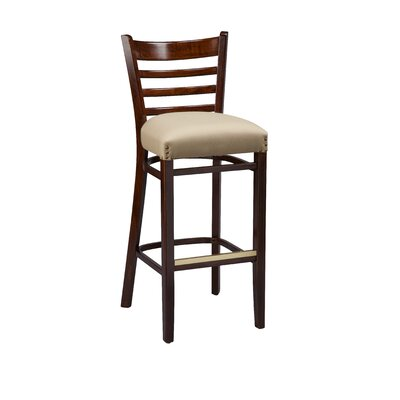 Bar Stool Finish: Mahogany, Seat Height: 31, Footrest and Nail Trim: Brass