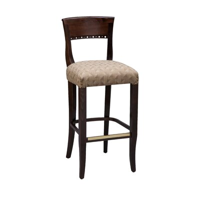 Beidermier Bar Stool Finish: Mahogany, Seat Height: 26, Footrest and Nail Trim: Chrome