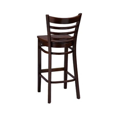 Bar Stool Finish: Cherry, Seat Height: 26, Footrest and Nail Trim: Brass