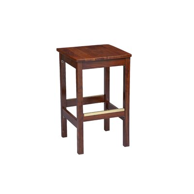 Bar Stool Finish: Dark Walnut, Seat Height: 26 inch, Footrest and Nail Trim: Chrome