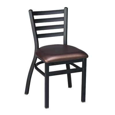 Side Chair with Cushion Finish: Black, Upholstery: Mahogany Wood