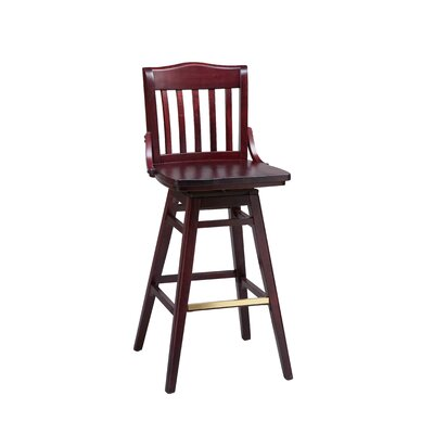School House Swivel Bar Stool Seat Height: 24 inch, Finish: Mahogany, Footrest and Nail Trim: Chrome