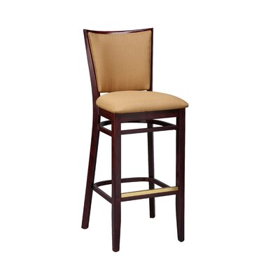 Bar Stool Finish: Natural, Seat Height: 24, Footrest and Nail Trim: Brass