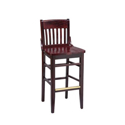 School House Bar Stool Finish: Mahogany, Seat Height: 31, Footrest and Nail Trim: Chrome