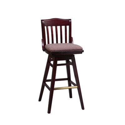 School House Swivel Bar Stool Finish: Cherry, Seat Height: 31 inch, Footrest and Nail Trim: Chrome