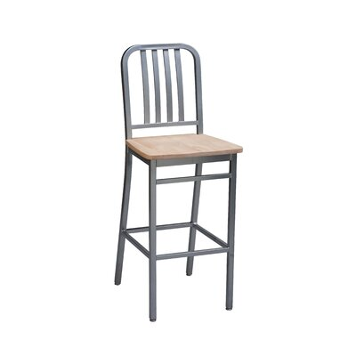 Bar Stool Seat Height: 24, Upholstery: Natural Wood, Finish: Silver