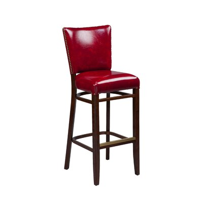 24 inch  Bar Stool Finish: Dark Walnut, Seat Height: 26 inch, Footrest and Nail Trim: Brass