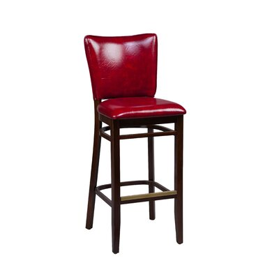 Bar Stool Finish: Mahogany, Seat Height: 31 inch, Footrest and Nail Trim: Brass