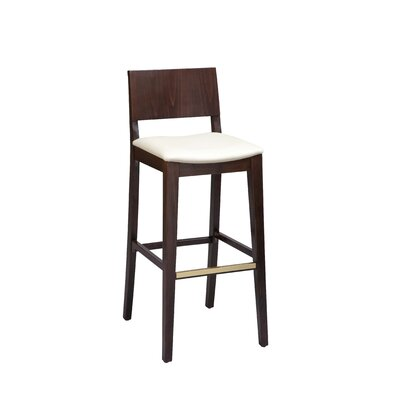 Otwell Beechwood Solid Back Upholstered Bar Stool Seat Height: 26