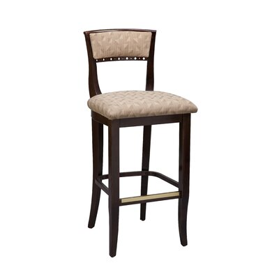 Beidermier Bar Stool Seat Height: 26 inch, Finish: Dark Walnut, Footrest and Nail Trim: Brass