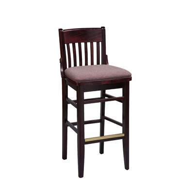 School House Bar Stool Finish: Cherry, Seat Height: 30 inch, Footrest and Nail Trim: Chrome