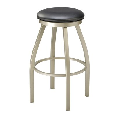 Swivel Bar Stool Upholstery: Dark Walnut, Finish: Anodized Nickel, Seat Height: 26