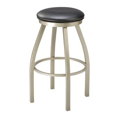 Regal Backless Swivel Bar Stool - Seat Finish: Mahogany Wood, Finish: Anodized Nickel, Seat Height: 29
