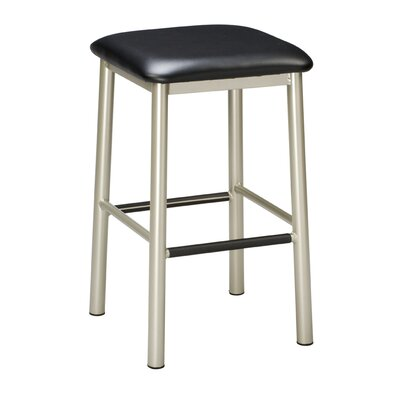 24 Bar Stool Finish: Anodized Nickel, Upholstery: Black Wood, Seat Height: 24