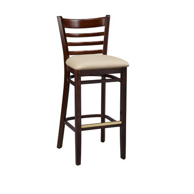 Amoroso Beechwood Ladder Back Upholstered Seat Bar Stool Seat Height: 31