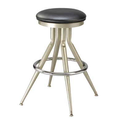 29 Swivel Bar Stool s Finish: Black, Upholstery: Black Wood