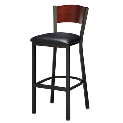 Regal Slot Back Bar Stool - Upholstery: Premier Acorn, Finish: Anodized Nickel, Seat Height: 24